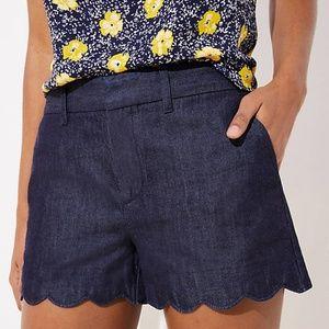 LOFT Shorts - Blue Denim LOFT Scalloped Shorts (NWT)